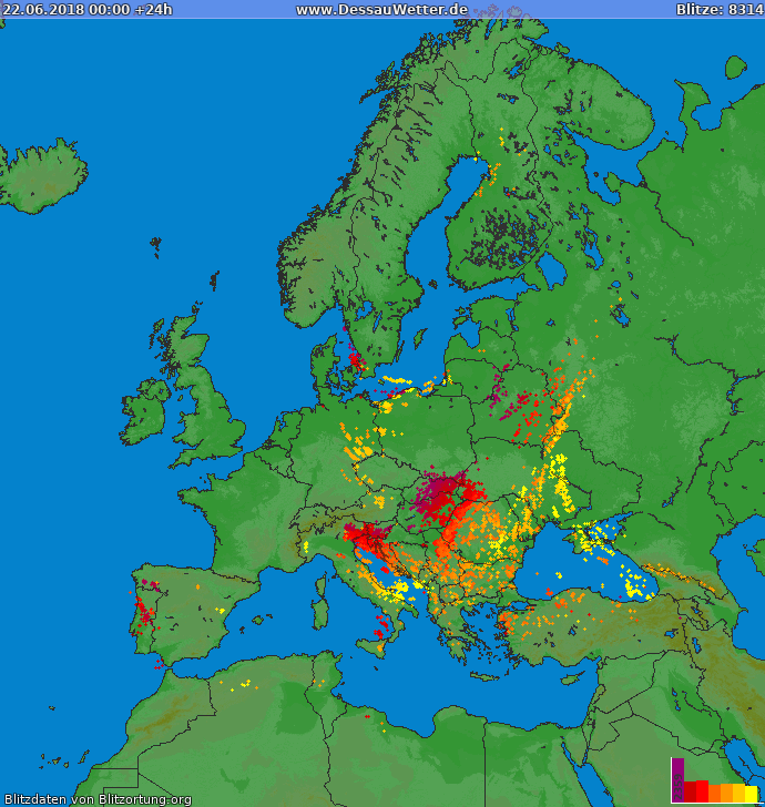Lightning map Europe 2018-06-22