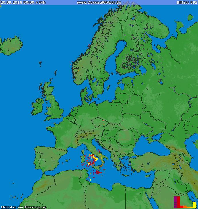 Lightning map Europe 2018-09-20