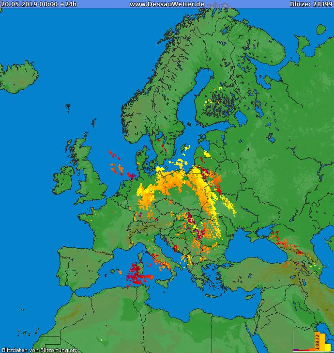 Lightning map Europe 2019-05-20