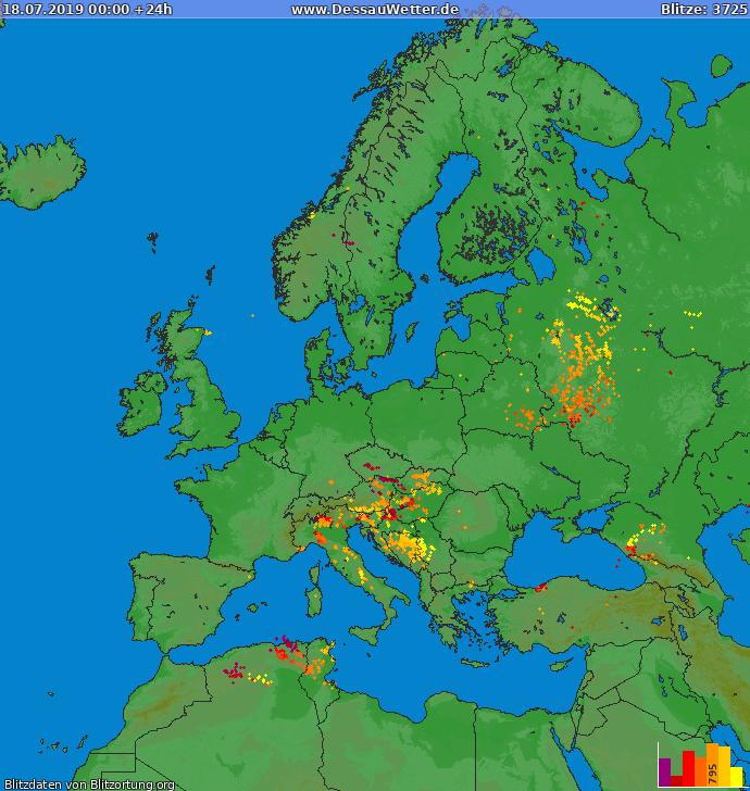 Mappa dei fulmini Europa 18.07.2019
