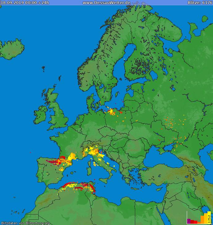 Lightning map Europe 2019-09-18