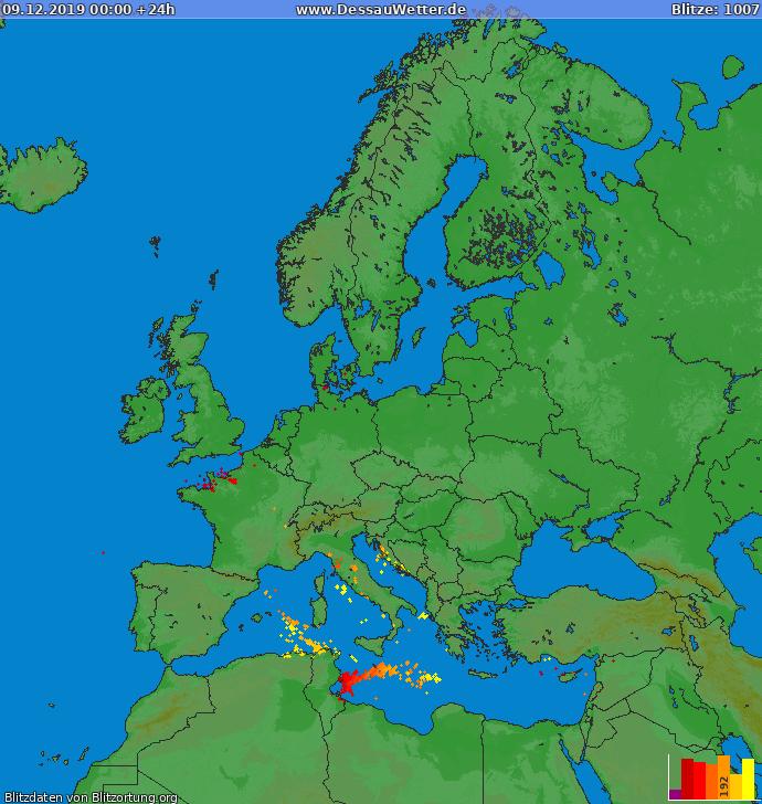 Lightning map Europe 2019-12-09