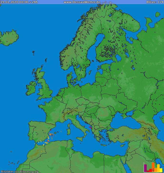 Lightning map Europe 2020-01-19