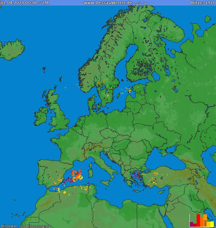 Lightning map Europe 2020-04-02
