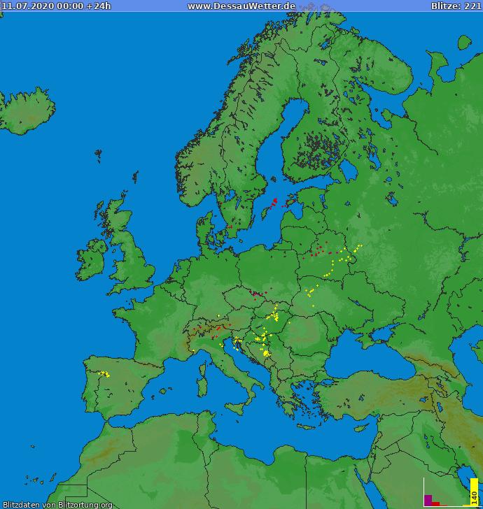 Lightning map Europe 2020-07-11