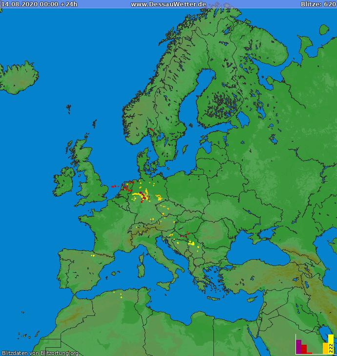 Lightning map Europe 2020-08-14