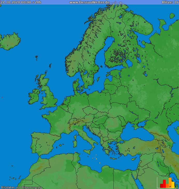 Lightning map Europe 2020-10-27