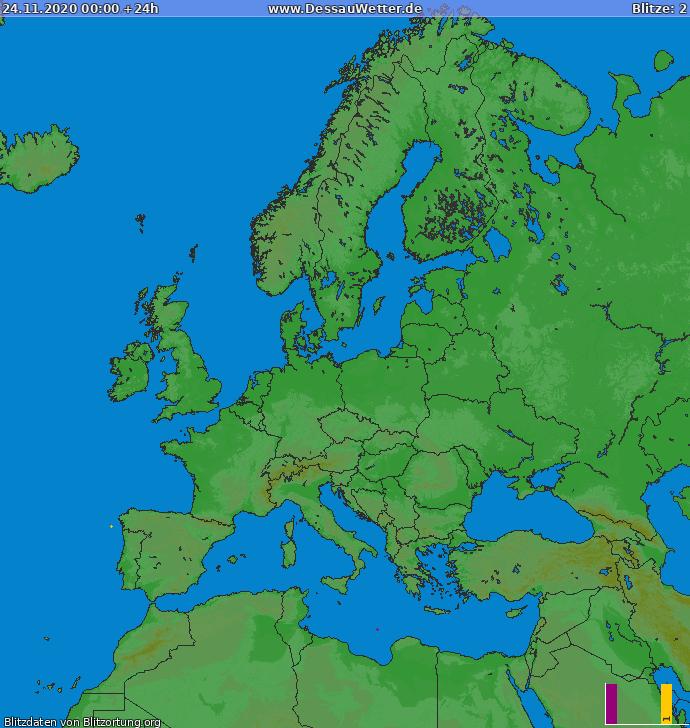 Carte de la foudre Europe 24/11/2020