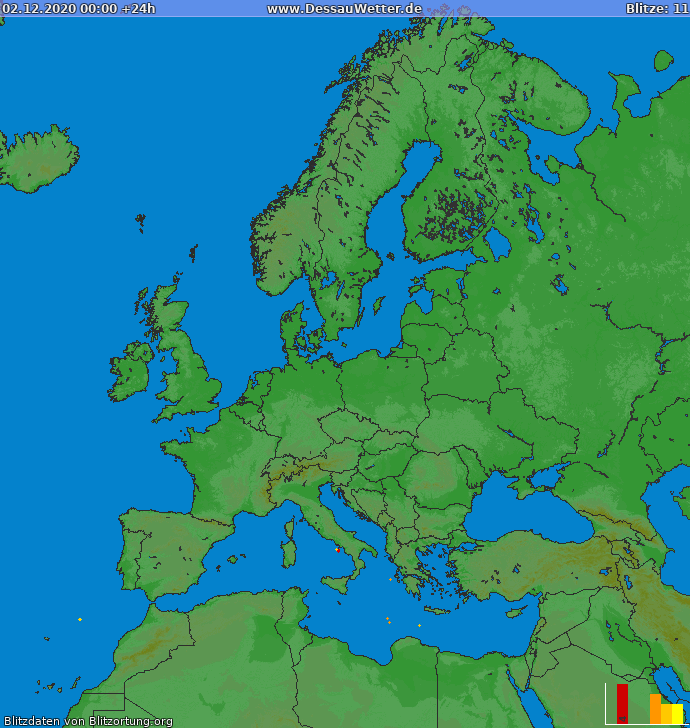 Blixtkarta Europa 2020-12-02