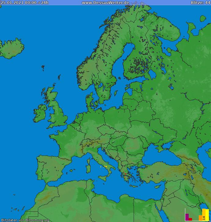 Lightning map Europe 2021-01-25