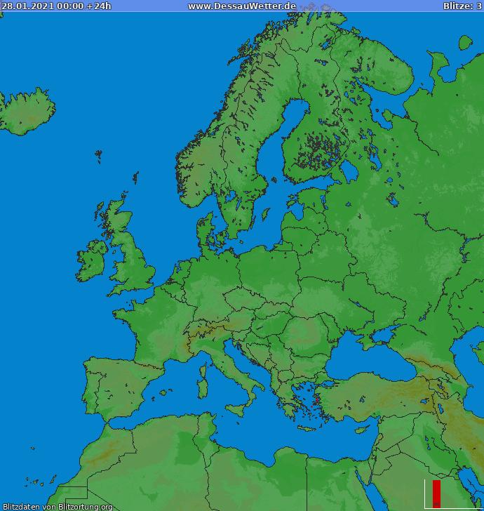 Lightning map Europe 2021-01-28