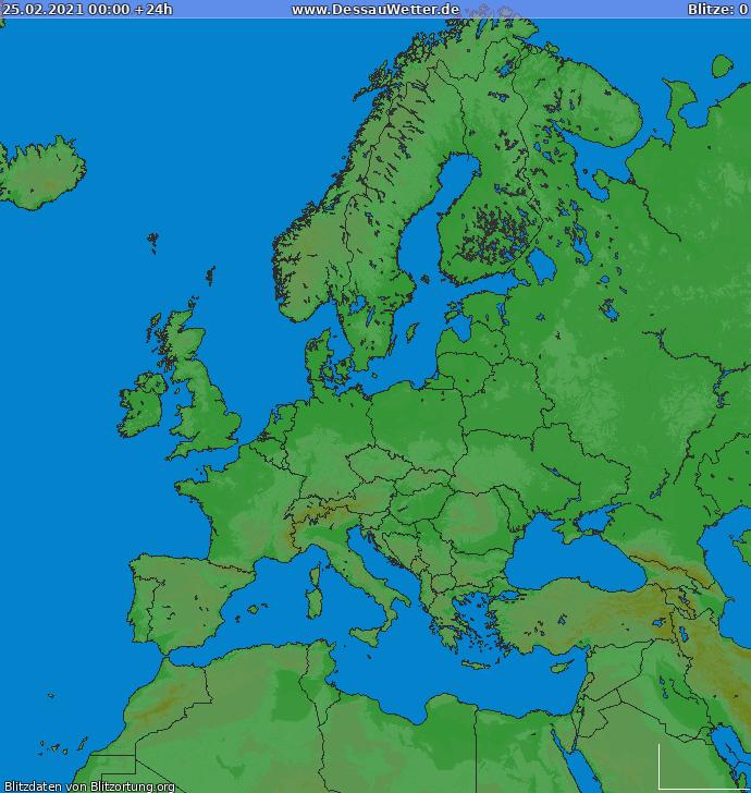 Zibens karte Europa 2021.02.25