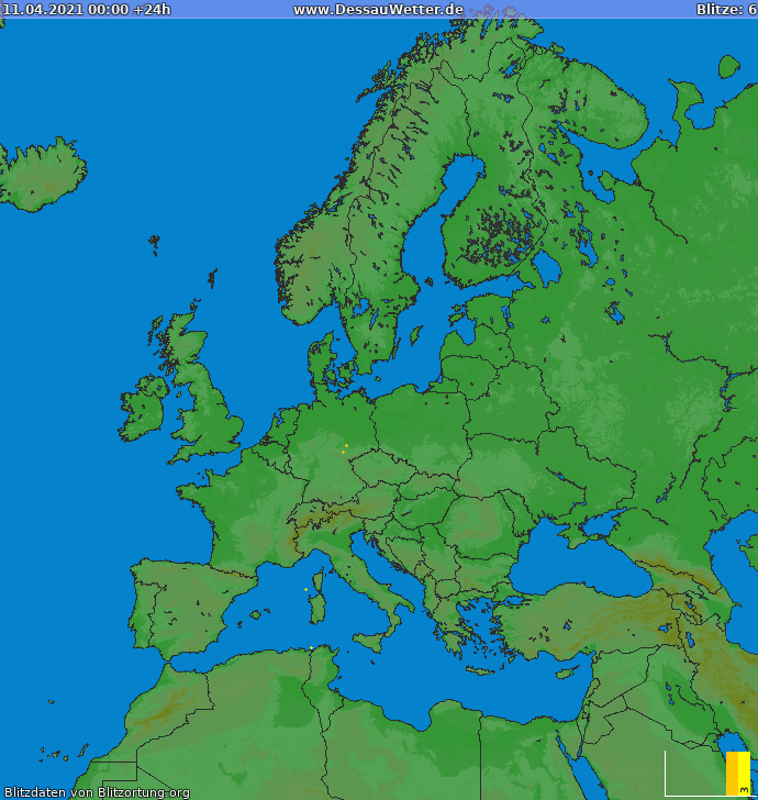 Lightning map Europe 2021-04-11