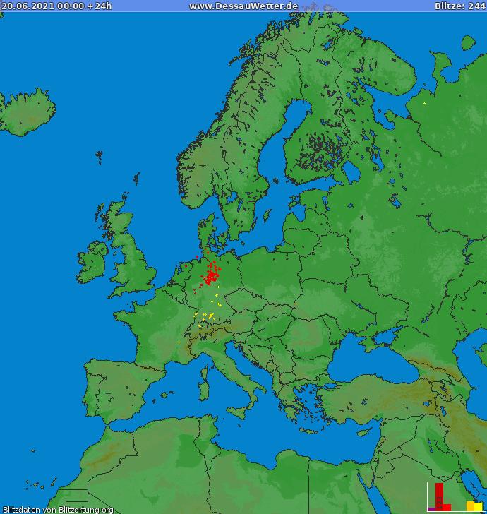 Mappa dei fulmini Europa 20.06.2021