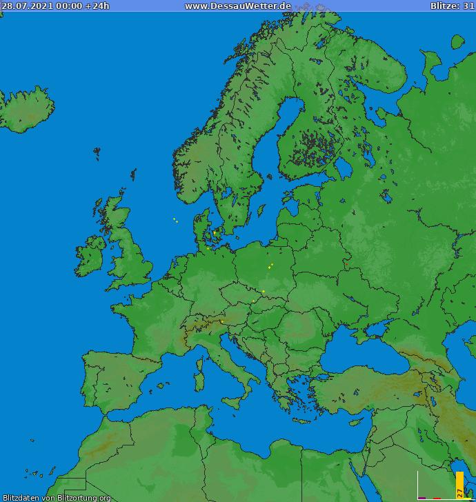 Bliksem kaart Europa 28.07.2021