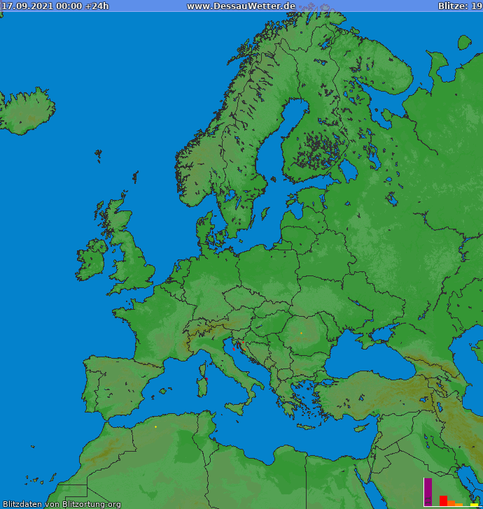 Carte de la foudre Europe 17/09/2021