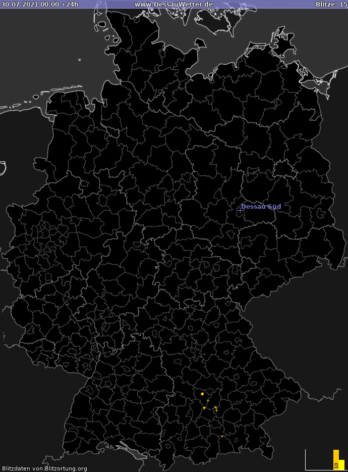 Lightning map Germany 2021-07-30